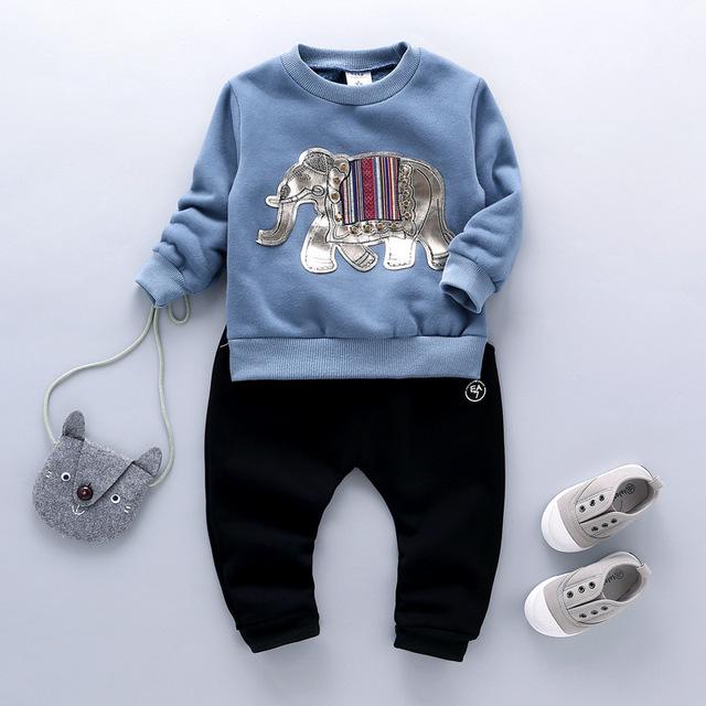 Primavera y Otoño Ropa de Bebé Niña Elefante Patrón de T-shirt + Pants 2/Set Ropa de Los Niños del Envío Libre