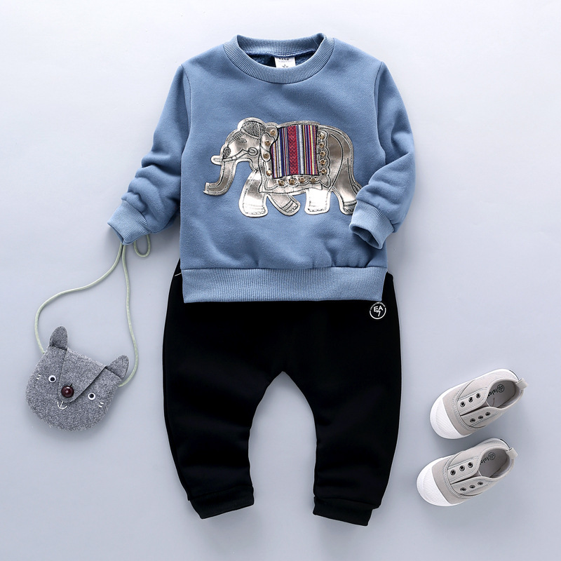 ФОТО Spring and Autumn Baby Clothing Baby Girl Elephant Pattern T-shirt + Pants 2 / Set Children's Clothing Free Shipping