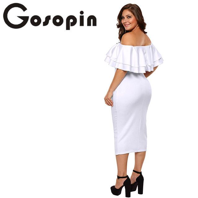 Gosopin Off Shoulder Dresses Summer Floral Ruffle Elegant Party Bodycon Dress Plus Size XXXL Vestidos De Festa Longo LC61611
