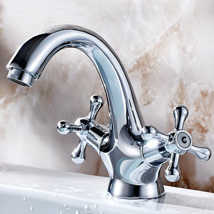 Electroplate Kitchen Faucets Brass Polished Silver Bathroom Faucet Double Handle Single Hole Mixer Taps Hot Cold Deck Mounted electroplate kitchen faucets brass polished silver bathroom faucet double handle single hole mixer taps hot cold deck mounted