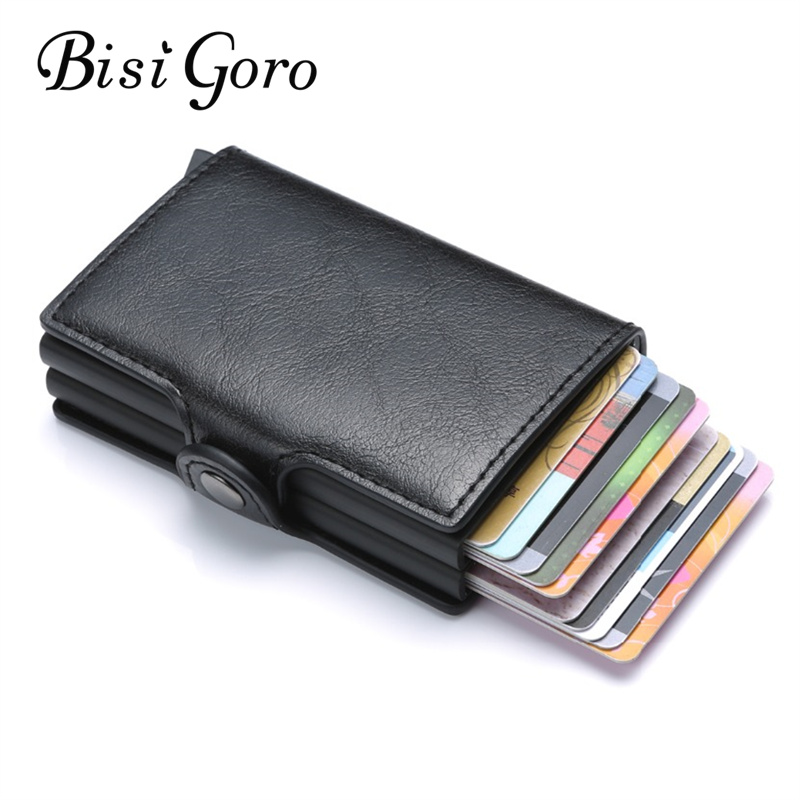 BISI GORO RFID Business Credit Card Holder Wallet Unisex Double Box Metal Blocking Wallet ID Card Case Aluminium