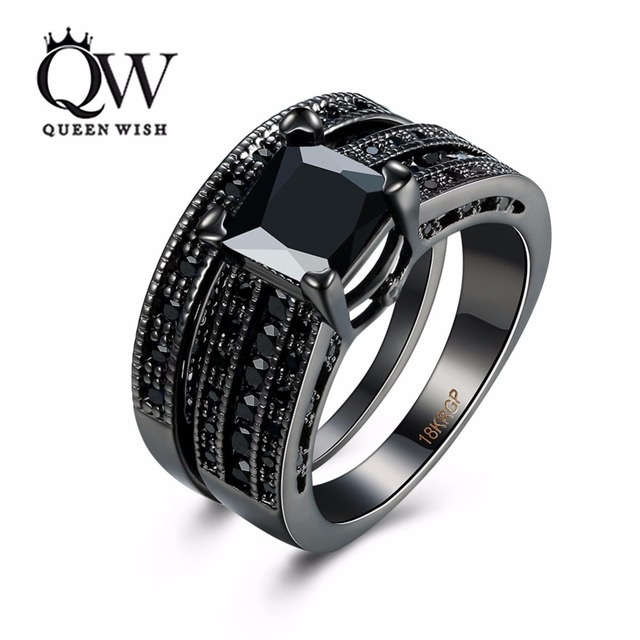 Queenwish Women Wedding Rings Set Black Cubic Zirconia With Double Band Design Engagement Ring Fashion Jewelry