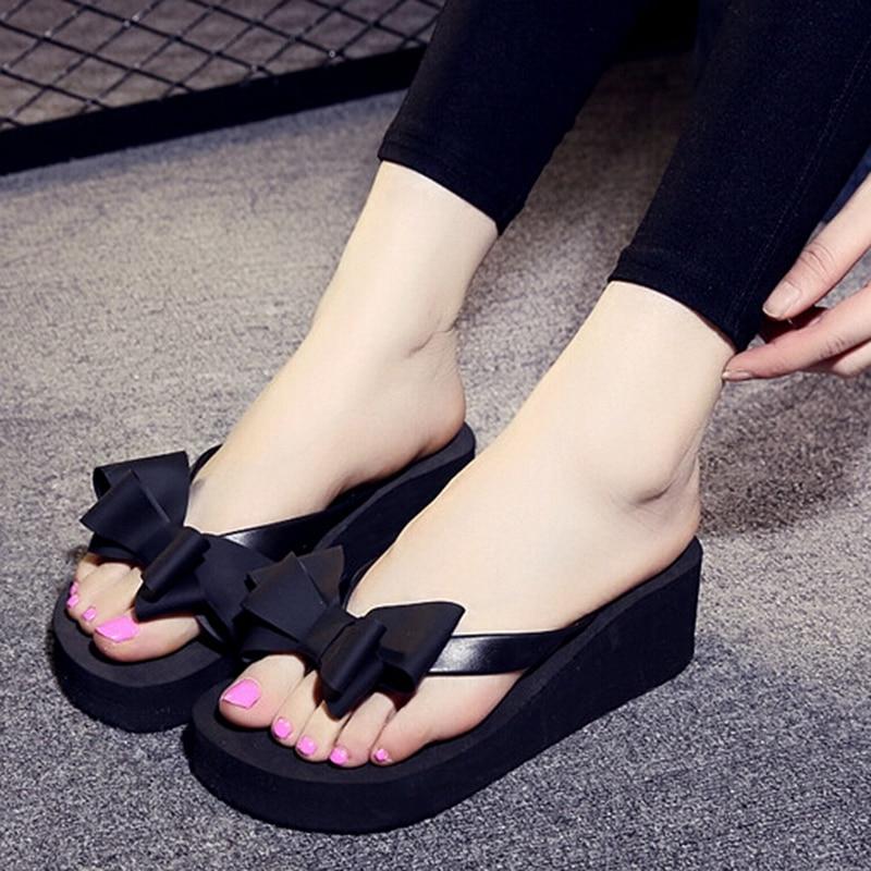 ABDB Ladies Summer Platform Flip Flops Thong Wedge Beach Slipper Knot Bow Shoes