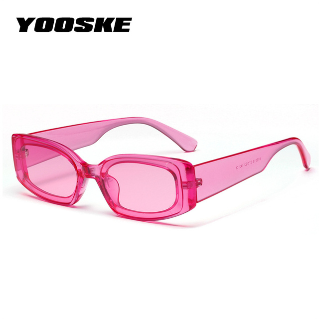 YOOSKE Vintage Small Square Sunglasses Women Brand Designer Retro Sunglass Rectangle Sun Glasses Female Candy Color Eyewears