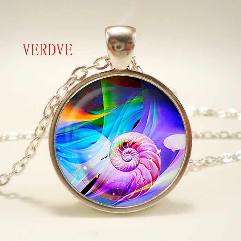 Conch Necklace Glass Cabochon Pendant Long Chain Neckless Fashion Jewelry Women, Christmas Gift party,wedding anniversary,gift