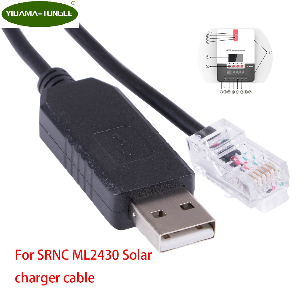 FTDI USB RS232 Serial to RJ12 6P6C Adapter Converter Network Cable for SRNC ML2430 Solar Charger mppt solar charger controller networking cables