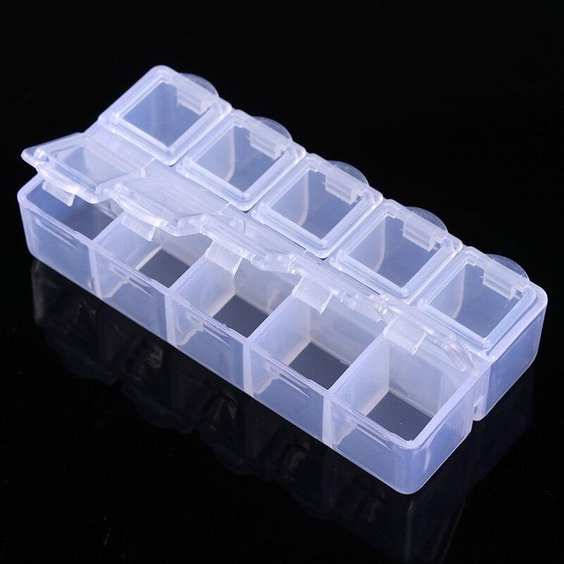 1 Stück 10 Grids Klar Nagel Dekorationen Container Mit Kappe Lagerung Fall Box Maniküre Schönheit Kunst Decor Werkzeug Veranstalter