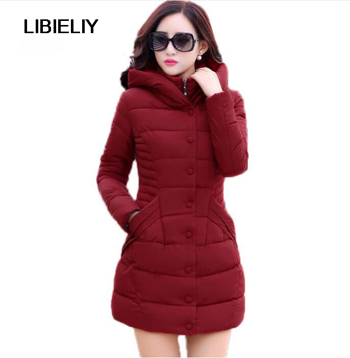 New Nice Winter Hooded Jacket Women Cotton Wadded Overcoat medium-long Slim Casual Fashion Parkas Plus Size XXXL Wine Red Coats купить
