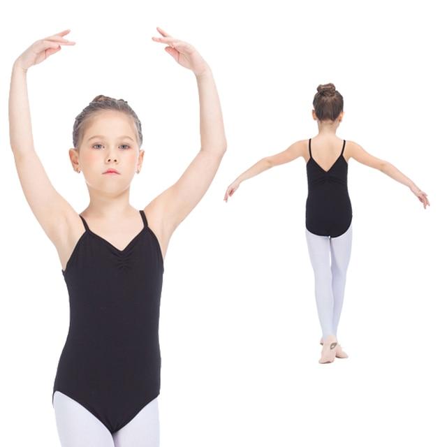 ef8f118132 Girls Bodysuit Black Cotton Lycra Camisole Leotard with Pinch Front V Back  for Kids Practice Ballet Dance