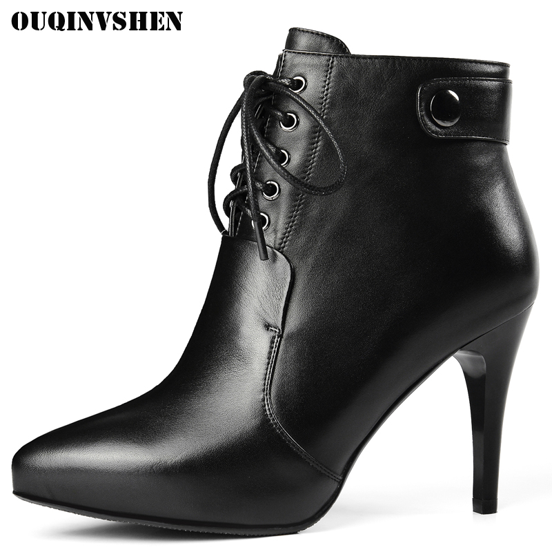 OUQINVSHEN Women's Pointed Toe Thin Heels Boots Casual Fashion Zipper Buckle Ladies Ankle Boots Cross Tied High Heel Women Boots 2016 custom made fashion brown short ankle boots for women pointed toe lace up platform thin heels stiletto ladies buckle boots