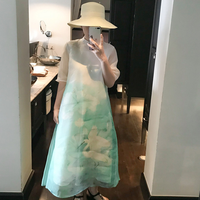 2019 Summer New Women's Chinese Style Beach Dresses Outside Real Silk 100% Elegant Long Ankle Length Loose Print Dress