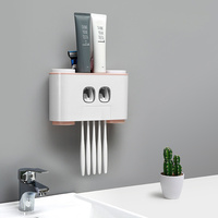 Four cups of happiness home Four storied family toothpaste holder Washing cup holder set toothbrush hanging storage box lo121365