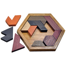 Hexangular Jigsaw Puzzle Wooden Tetris Game for Kids Mini Rubber Wood DIY 3D Bricks Brain Toys