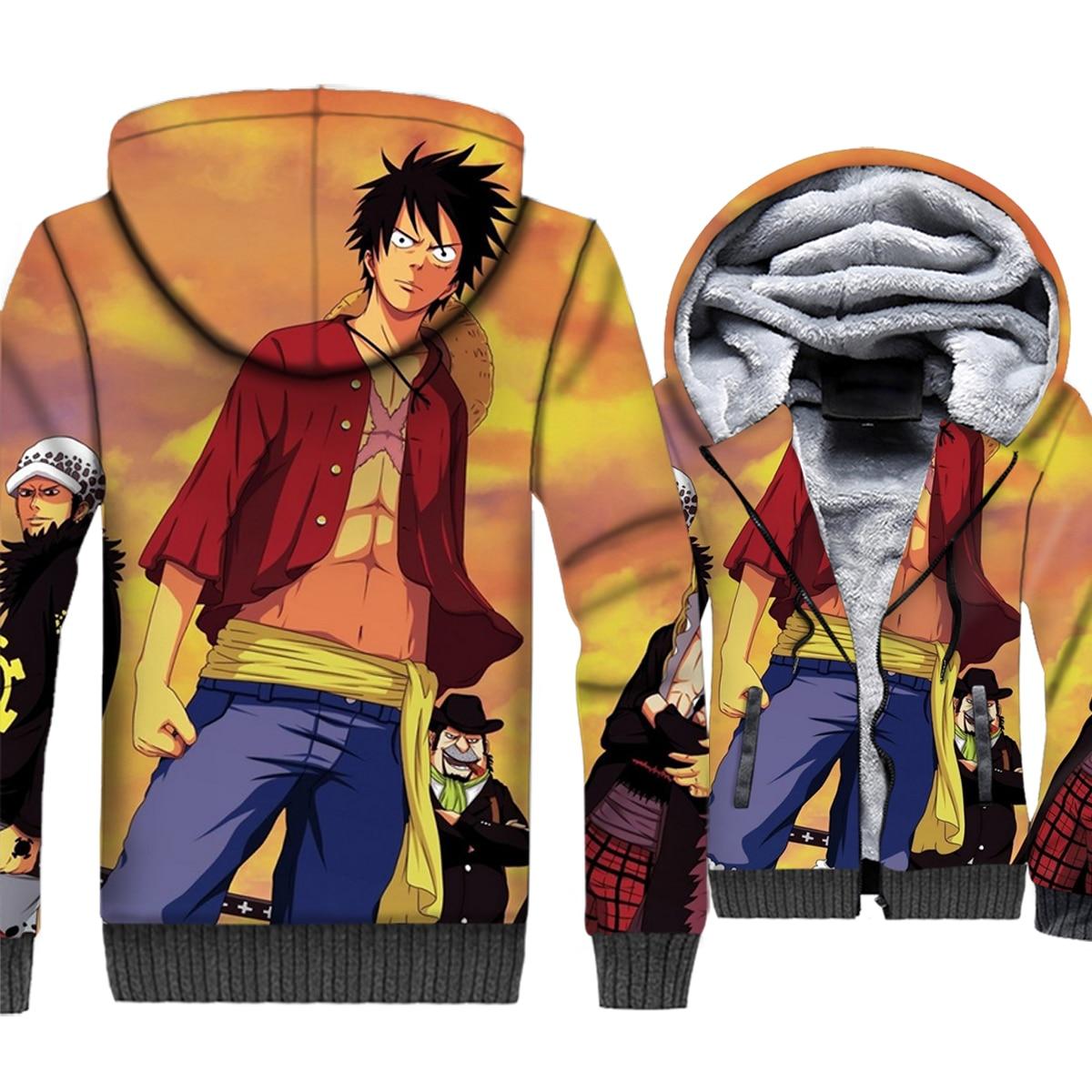 Japanese Anime One Piece 3D Print Hoodie Men Luffy Hooded Sweatshirt 2018 Winter Thick Fleece Zip up Jacket The Pirate King Coat