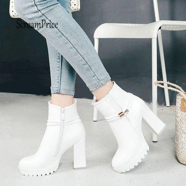 85a25703fc Mulheres Robusto Salto Alto Plataforma Zíper Lateral Ankle Boots Moda  Outono Inverno Sapatos Botas Curtas 2019