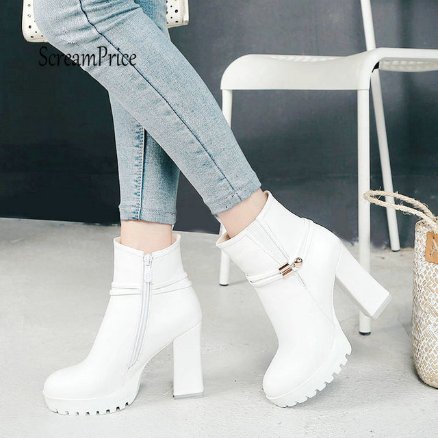 b8179b55f27b Women Chunky High Heel Ankle Boots Fashion Platform Side Zipper Fall Winter  Short Boots Shoes 2019 White Black Apricot Dropship