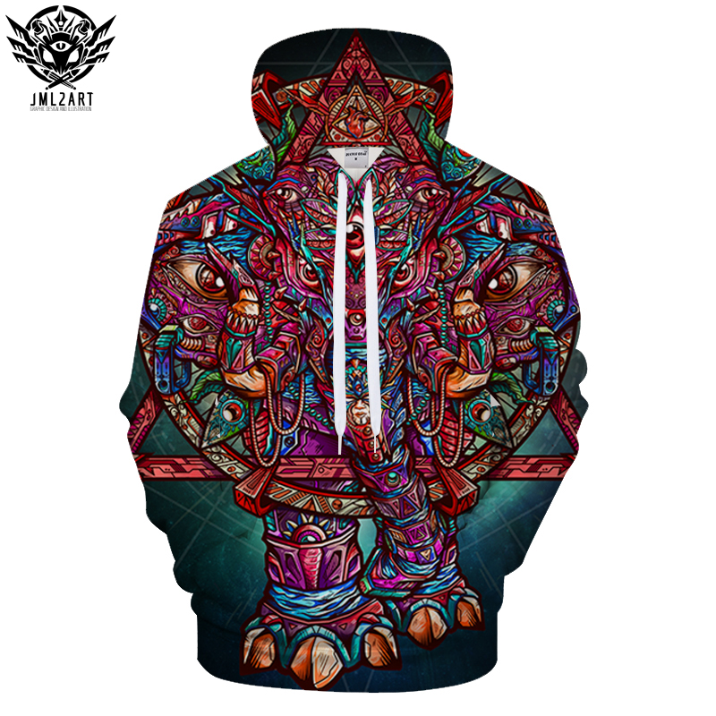 Color Elephant By jml2 Arts 3D Print Hoodies Men Women Anime Sweatshirts Hooded Tracksuit Brand Pullover Unisex Jackets Coat Dro