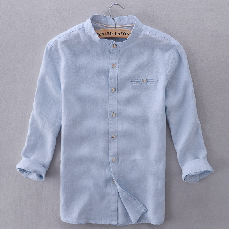 Chinese Style Italy Brand Shirt Men Linen Blue Summer