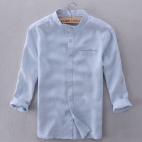 Chinese Style Italy Brand Shirt Men Linen Blue Summer Shirt Mens Flax Slim Casual Shirts Men