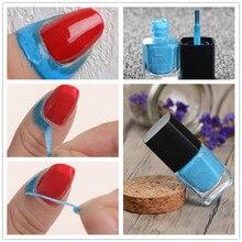 BORN PRETTY 6ml Blue Pink Liquid Tape & Peel Off Base Coat Easy Clean Care Nail Polish Art Latex Stamping Tools (Random Color)