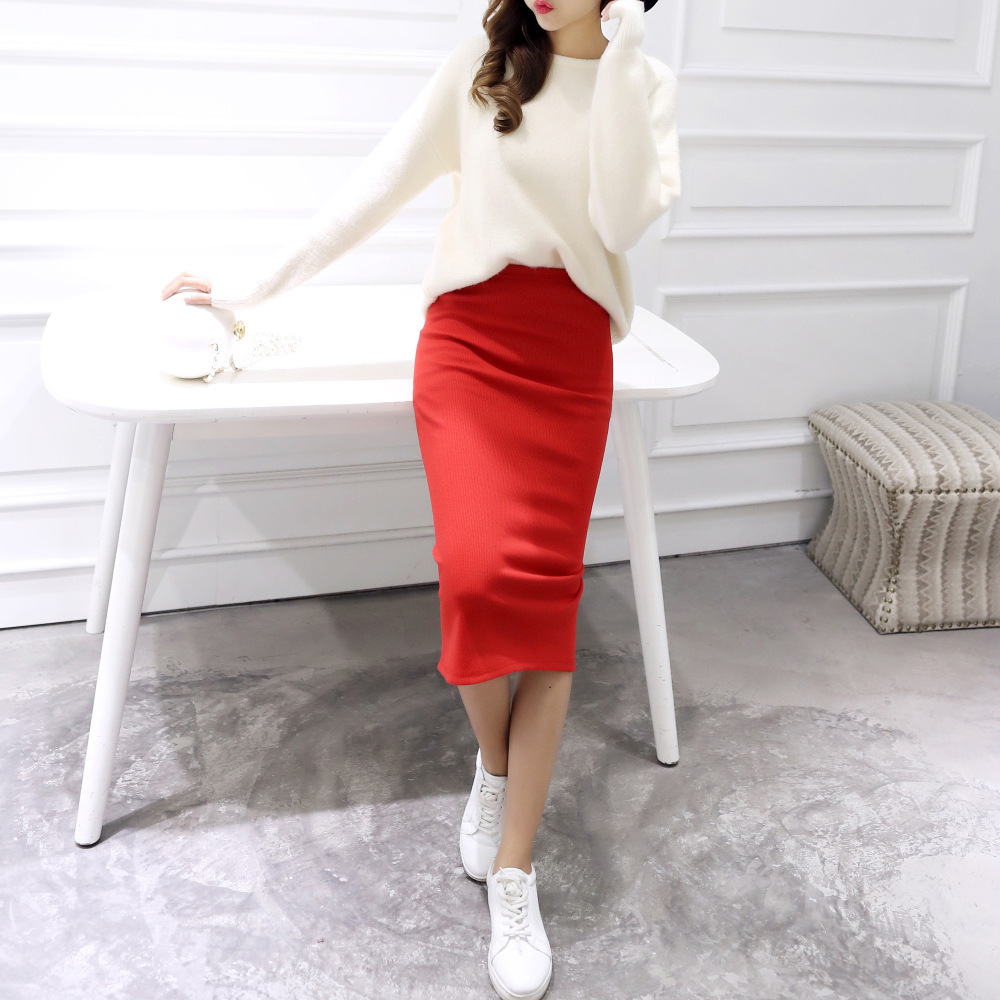 Wanita Pepejal Sexy Elegant Split Slim Skirt Hight pinggang Kintting Cotton Ladies Summer Skirts Mid-Calf Bodycon Pencil Skirt Saia