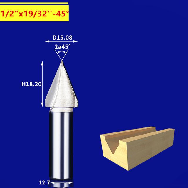 US $14 5 5% OFF|12 7mm*15 08mm*45degrees 1pcs,CNC solid carbide 3D End  Mill,tungsten steel woodworking insert router bit,wood tools,3D V Bit-in