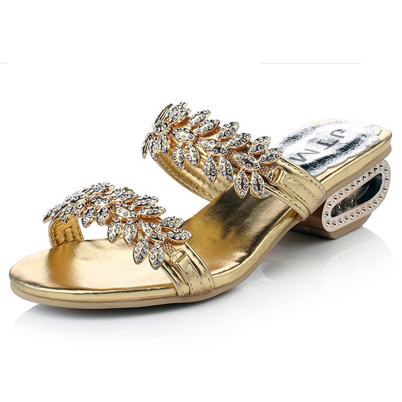 Women Sandals 2016 New Summer Brand PU Leather Women flip flop shoes Fashion Shiny rhinestones Thick Heel Fish Head Gladiator sandals 2016 new famous brand buckle womens flip flop sandals summer beach sandals af327