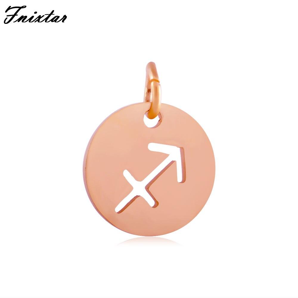 Fnixtar Zodiac Signs Accessories Gold Color Metal Charm Twelve Constellations Sagittarius Charm DIY Jewelry Making 10pcs/lot