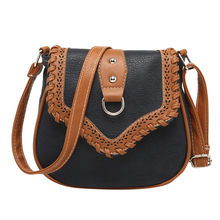 Ethnic Style crossbody bags for women luxury handbags women bags designer Ladies Hollow Matching Leather Woven Shoulder Bag(China)