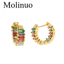 Molinuo rainbow cz hoop earring for lady fashion jewelry colorful square cubic zirconia luxury high quality Gold filled earrings