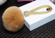10 colors Rabbit Soft Fluffy Genuine Rabbit Fur PomPom Ball Leather Strap Key Chain For Car Key Ring Bag Pendant Fo-K013-gold
