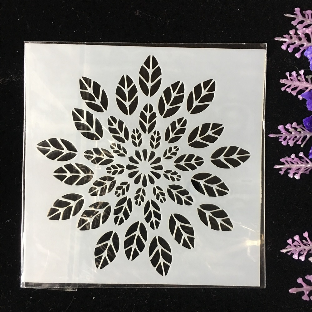 New 1Pcs 13cm Leaves DIY Layering Stencils Wall Painting Scrapbook Coloring Embossing Album Decorative Card Template