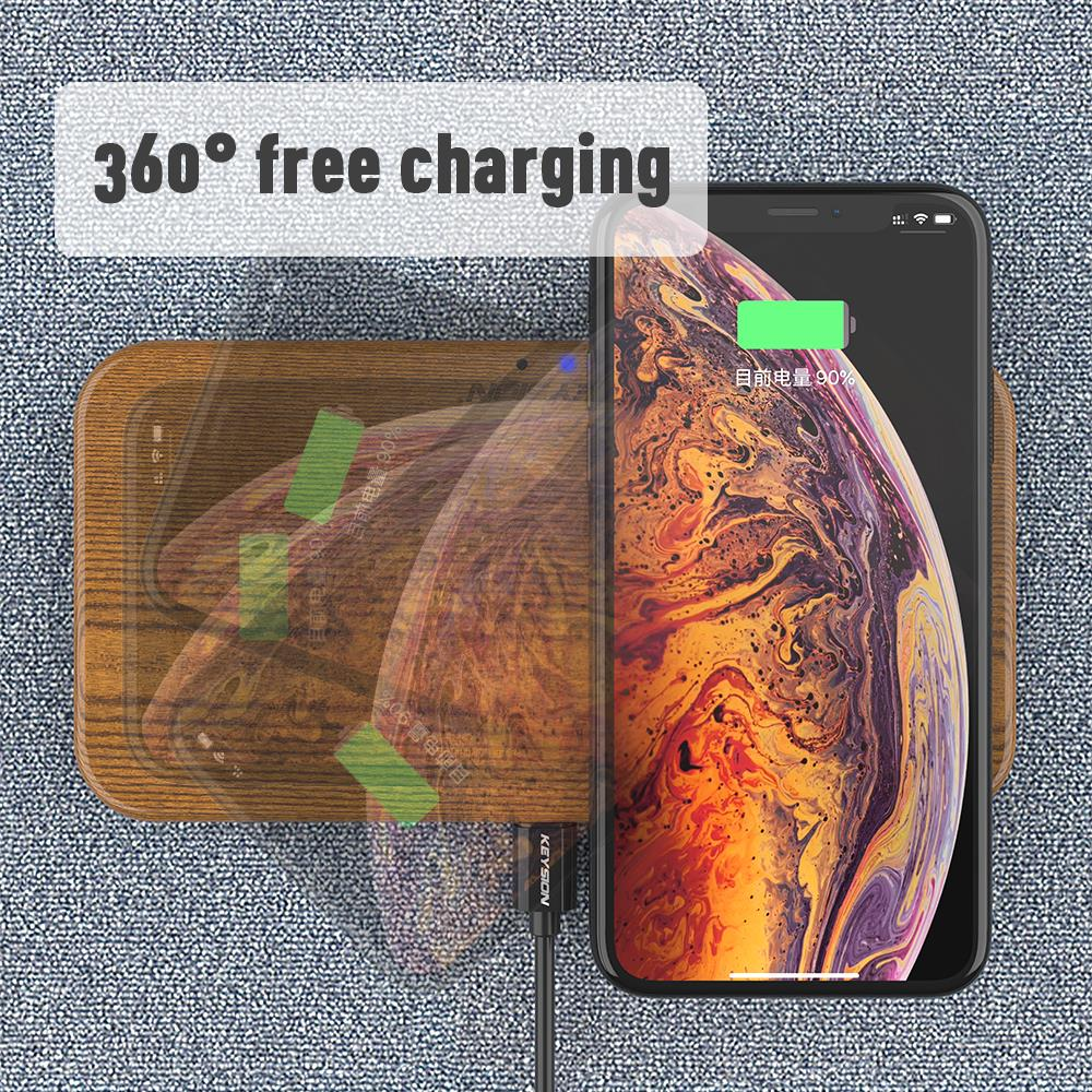 Image 4 - KEYSION Dual Wireless Charger 5 Coils Qi Fast Charging Pad Compatible for iPhone 11 Pro XS Max Samsung S10 S9 AirPods Xiaomi Mi9-in Wireless Chargers from Cellphones & Telecommunications