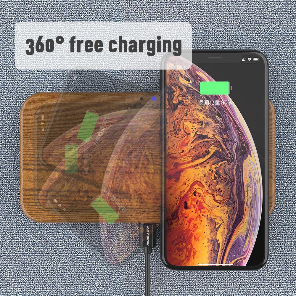 KEYSION double chargeur sans fil 5 bobines Qi chargeur rapide Compatible pour iPhone 11 Pro XS Max Samsung S10 S9 AirPods Xiaomi Mi9 - 4