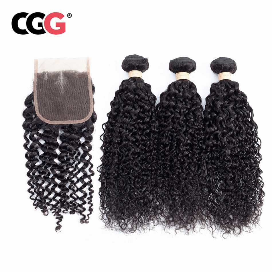 CGG Hair-Weave-Bundles Peruvian Closure Curly with Non-Remy 3pcs Kinky Natural-Color