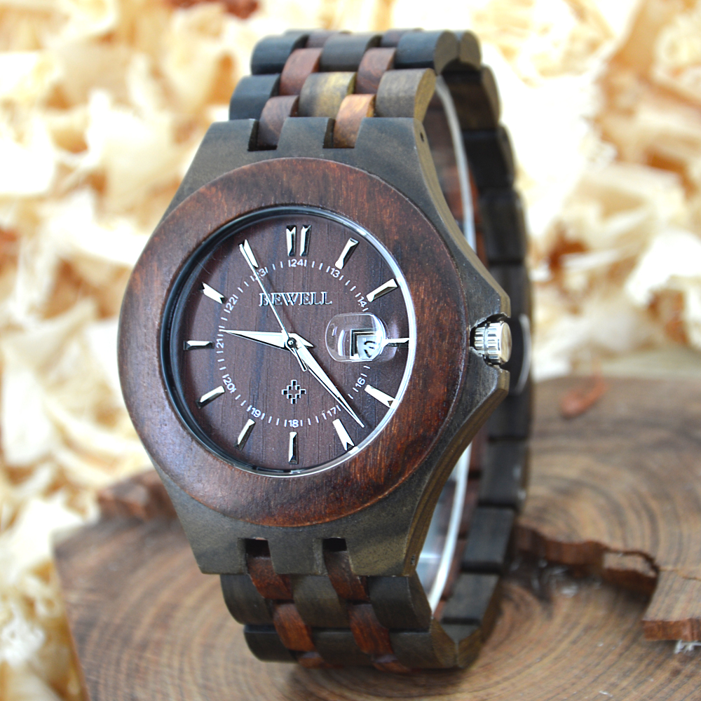 где купить  BEWELL Wood Watch Men Calendar Display Bangle relogio masculino Wristwatch  Natural Wooden montre homme Watches 080A  по лучшей цене