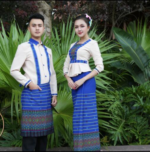 Southeast Asian Hotel Waiter Cashier Uniform Island Country Beach Waitress costume Spring Autumn Restaurant Workwear Suits Blue 1