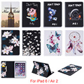 For Apple iPad 6 iPad6 Case Fashion Butterfly Flower Pattern Wallet Flip PU Leather Tablet Back Cover For iPad Air 2 9.7''
