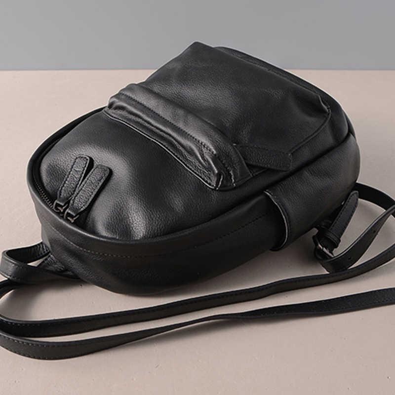 Zency negro mujeres mochila 100% cuero genuino Casual bolsas de viaje moda señora mochila de alta calidad bolsa de escuela para niñas