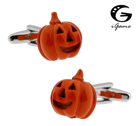 Igame Factory Price Pumpkin Lantern Cuff Links Color Brass