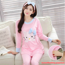 2016 summer autumn casual maternity clothes set Pure cotton pregnant women breastfeeding cartoon cat pajamas dress up nurse suit