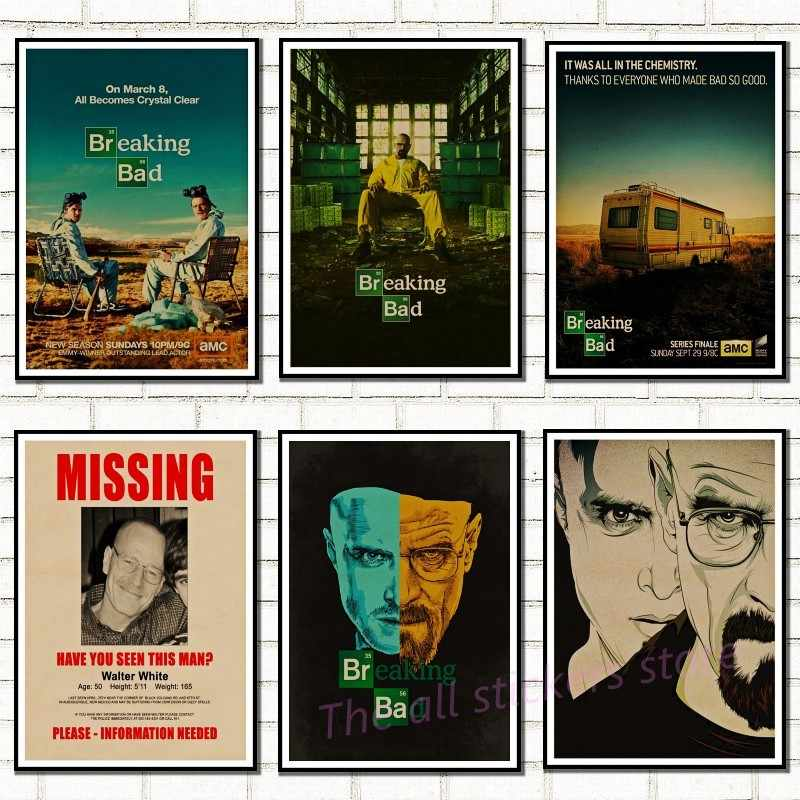Breaking Bad Poster Movie Poster Vintage Carta Kraft Retro Autoadesivo Della Parete Complementi Arredo Casa/5056