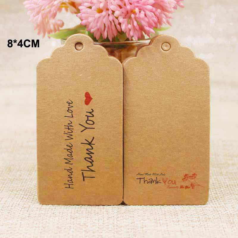 100Pcs 8*4cm best two design handmade with love luggage Tags Scallop shape kraft paper Wedding note /gift /prouducts hang tag