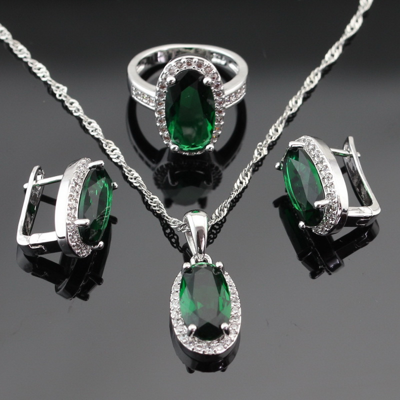 WPAITKYS Green Crystal White Stones Silver Color Women Jewelry Sets Hoop Earrings/Pendant/Necklace/Rings Free Gift Box