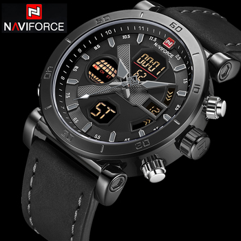 NAVIFORCE 9132 Men Sport Watches Leather Band Waterproof wiith box.