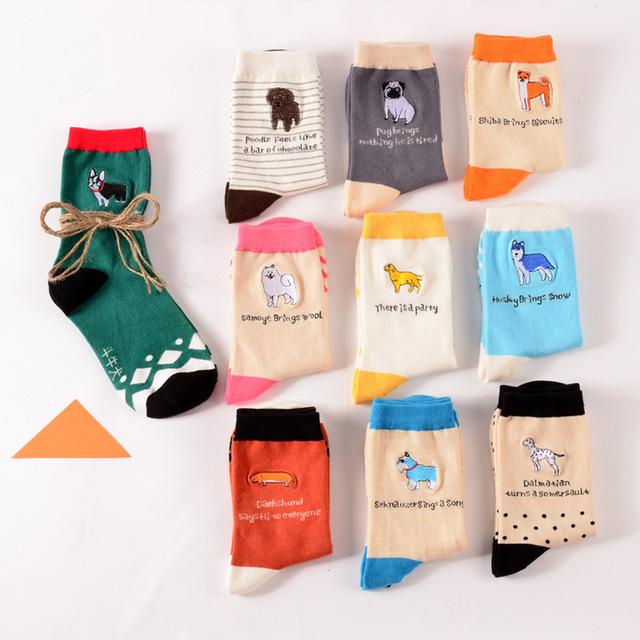 9 pairspacute rouca animais bordado Jacquard das mulheres meias de algodão cão adorável feminino pure color meias engraçado kawaii pug meias soks