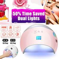 NEW 48W UV Nail Dryer Auto Sensor Portable UV Lamp For Drying Low Heat Model Double Power Fast Manicure Nail Led Lamp 100 240V