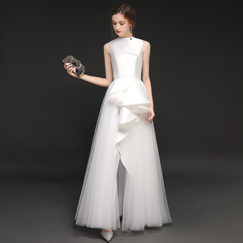 White Wedding Jumpsuits 2019 New Charming Tulle With Satin