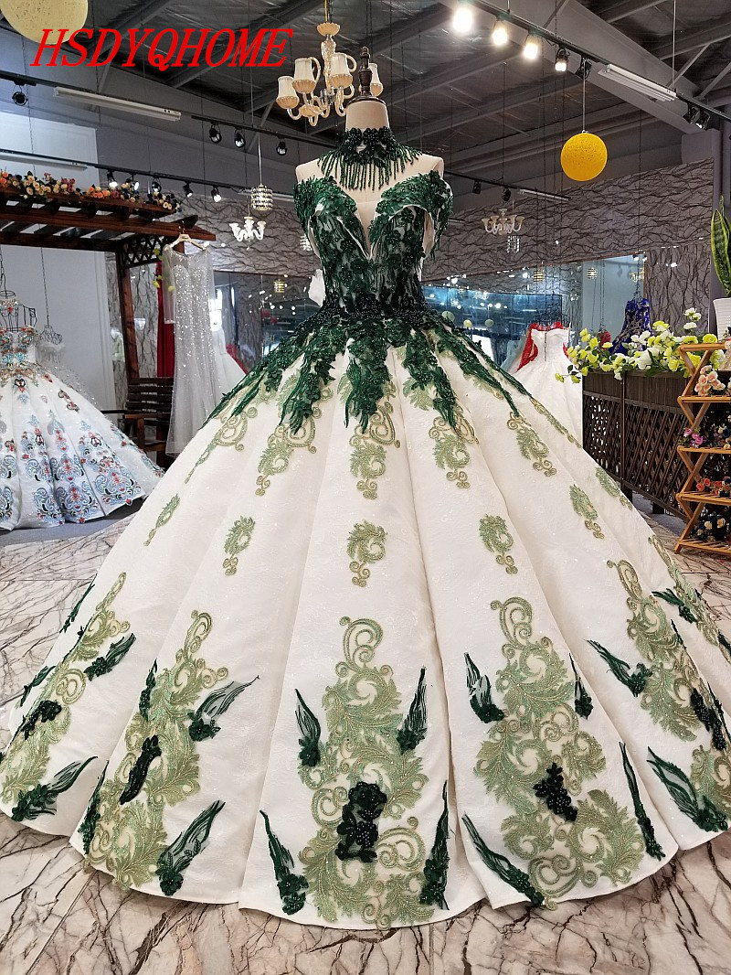 HSDYQHOME Amazing Dark Green Appliques Evening dresses 2018 Luxury Prom Dresses Beading Vestidos Evening gown