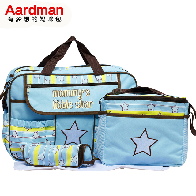 Free Shipping  New  Arrival 600D  Cute Blue,Pink 4pcs 2 colors cheap Baby bag set  Nappy Diaper Bags  fashion for mummy  HY-019